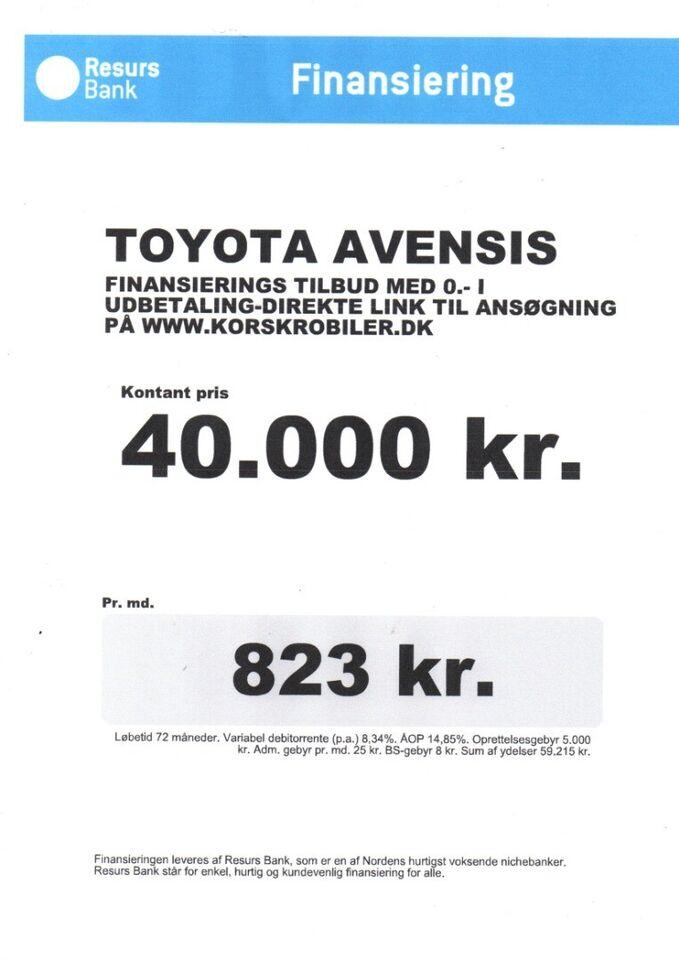 Toyota Avensis 2,0 D-4D Sol stc. Diesel modelår 2008 km