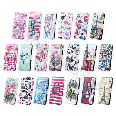 1× Stylish Retro Card PU Leather Wallet Stand Flip Cover Case For iPhone Samsung