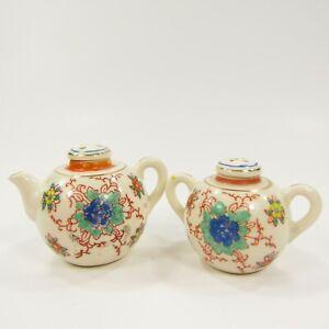 Vintage-Salt-Pepper-Shakers-Teapot-Pitcher-Japan-Painted-Floral-INV239