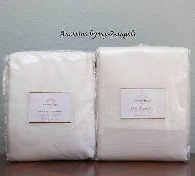 S//2 NEW Pottery Barn EMERY LINEN COTTON CURTAINS Drapes Panels 50x84 IVORY lined