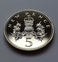 1972 U.K. 5p Royal Mint Proof Five Pence Coin Rare