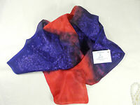Hand Painted 100% Silk Scarf In Blues And Reds With Artist's Label