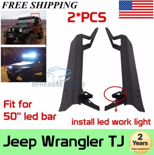 Jeep TJ Wrangler Windshield Mount Brackets W// A-Pillar for 50 inch LED light bar
