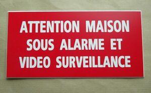 """plaque gravée """"ATTENTION MAISON SOUS ALARME ET VIDEO SURVEILLANCE"""" ft 98x200 mm"""