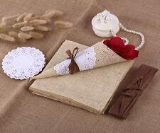 20x Jahrgang Rustikal Konfetti Kegel mit Papier Sackleinen Deckchen Papier