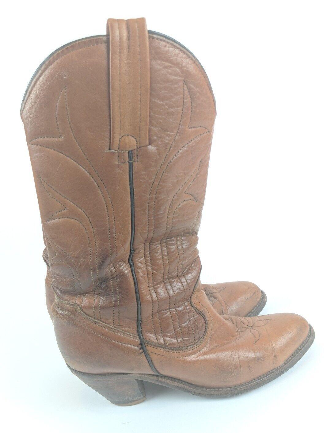 Frye para mujer Talla Talla Talla 7 1 2 7.5 De Cuero Marrón botas De Vaquero Vaquera Oeste Vintage  venta caliente