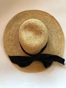 3adb489ed Details about The Scalia Collection Ladies Straw Hat w/ Black Bow
