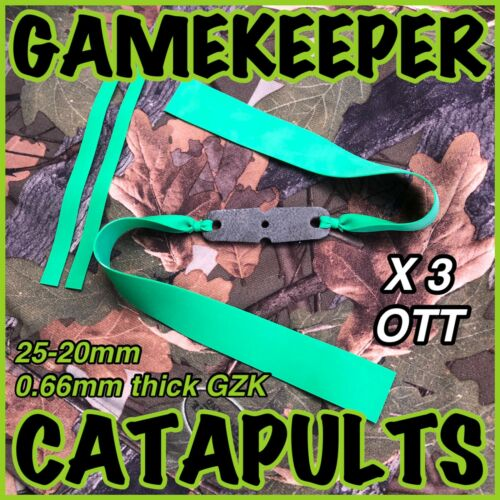 3 X OTT GAMEKEEPER CATAPULTS SINGLE 25-20 GZK GREEN 0.66 BANDSET ELASTIC HUNTING