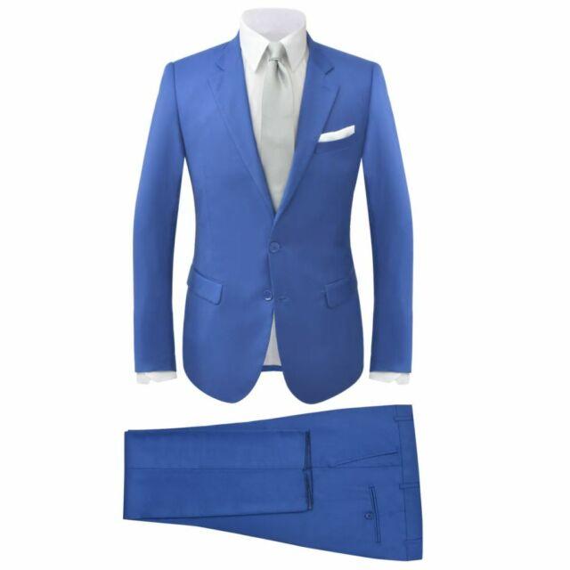 b074210712b9 vidaXL 2 Pz Abito Elegante da Uomo Completo Sartoriale Aderente Blu Reale  T. 52