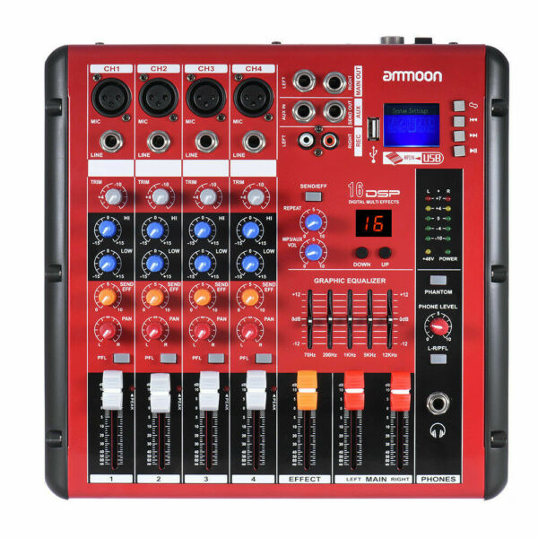 ammoon bluetooth 4 channel mic line audio mixer mixing console 2 band eq b5k6 for sale online ebay. Black Bedroom Furniture Sets. Home Design Ideas