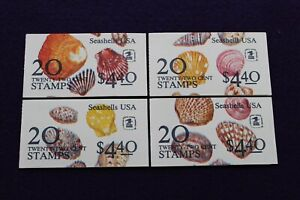 SEASHELL STAMPS 4 BOOKLETS OF 20-22¢