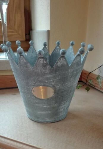 Zink Übertopf Krone mit Boden Metall Pflanztopf Pflanzkübel geweisst