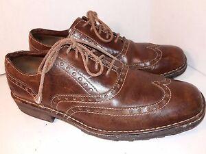 Born-Brown-Leather-Oxfords-Laces-Wingtip-Shoes-Mens-Size-11-5-laces