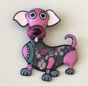 Unique-artistic-Large-dog-brooch-enamel-on-metal
