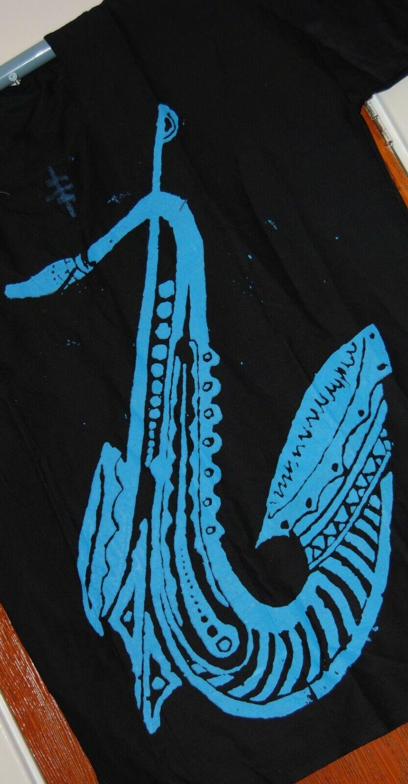 Men Women Adire Black & Blue Colour Trumpet Pattern Color Medium Size T-Shirt