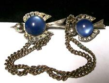 Vintage ART DECO BIRD SWEATER GUARD SCATTER PINS-RHINESTONE-Blue MOONGLOW LUCITE
