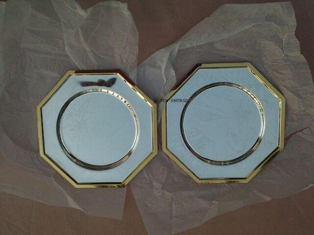PRETTY set 2ALPACA trays BY Silver Smith -SILVERWARE Nº 82448TT of 16.5 cm mark.