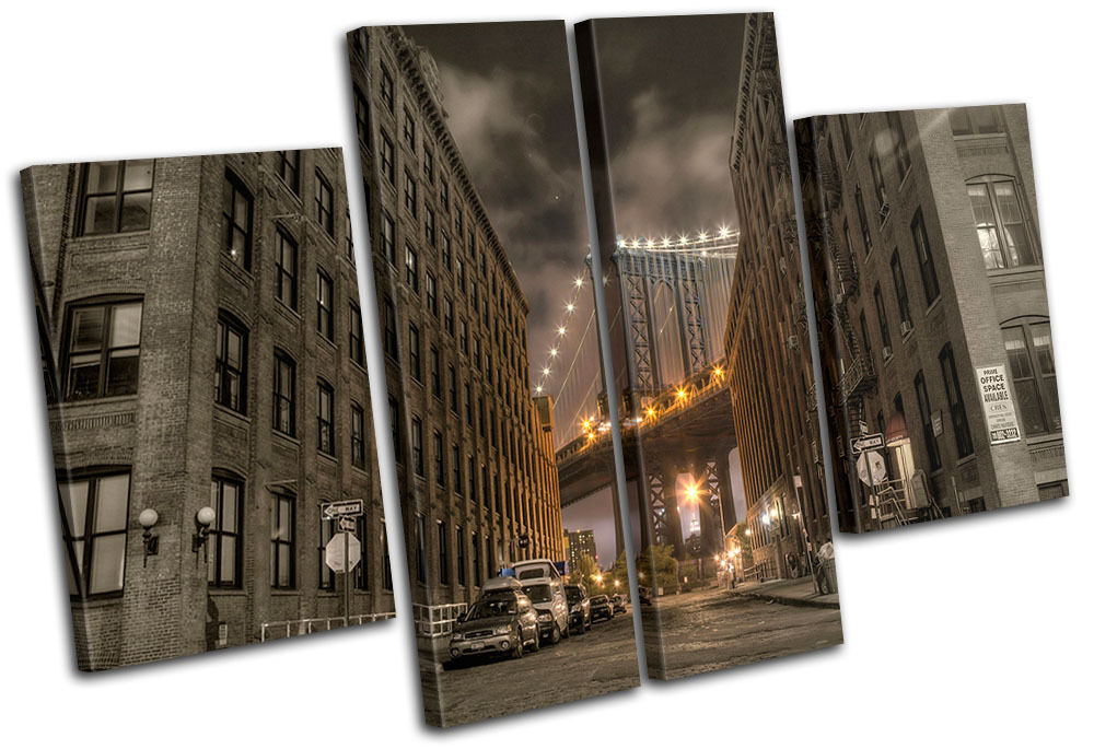NYC Brooklyn Bridge City MULTI Leinwand Wand Kunst Bild drucken