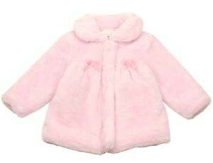 NEW LE TOP TODDLER GIRLS EASTER PINK FAUX FUR COAT W/BOWS SIZE 2T NWT