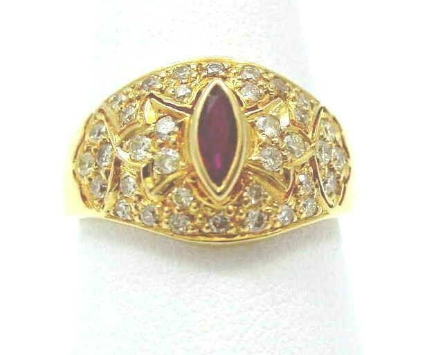 0.25CT GENIUNE MARQUISE CUT RUBY & DIAMOND RING 18K YELLOW gold