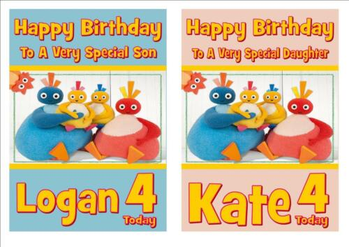 TWIRLYWOOS boy girl PERSONALISED BIRTHDAY CARD ANY NAME AGE RELATION