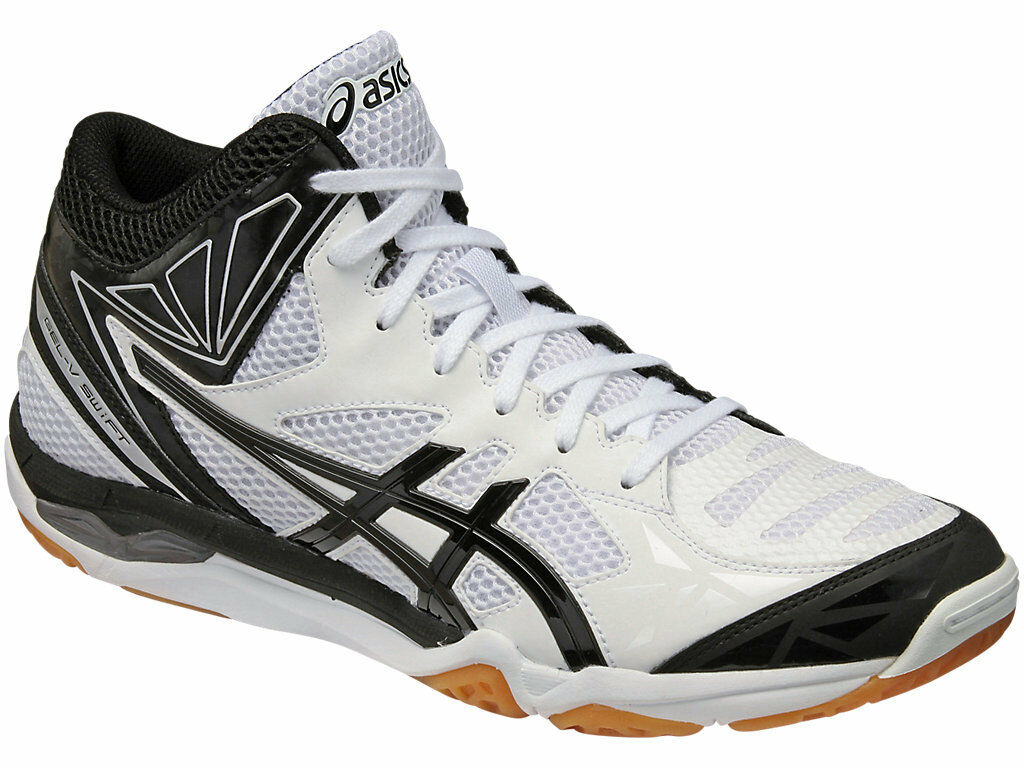 [ASICS GEL-V SWIFT CV] MT blancoo Negro Hombre Zapatos Voleibol de Seguimiento Gratis