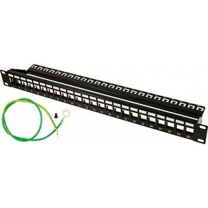 Decharges-blank-blinde-keystone-patch-panel-24-port-1U-Cat6a-Cat6-Cat5e-et-bar