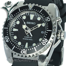 NEW SEIKO PROSPEX KINETIC 200M PRO DIVERS With RUBBER BUCKLE STRAP SKA371P2