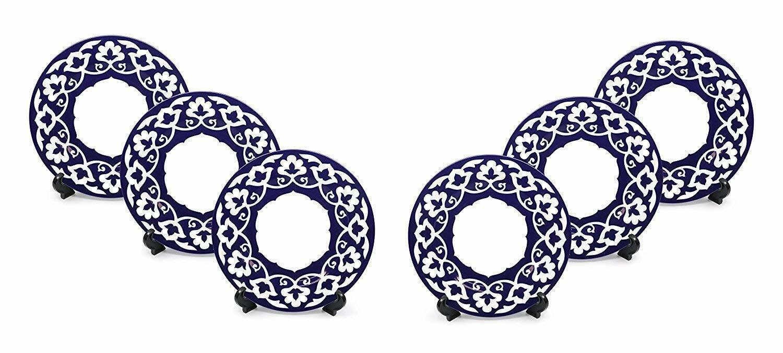 Royalty Porcelain 6-pc russe Fine Motif Floral Bleu Lot de assiettes