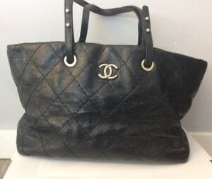 Image is loading Chanel-Black-Large-Quilted-Tote-Bag 0f77fa987a89a