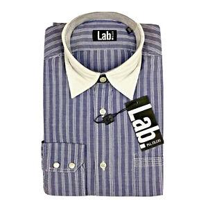 PAL-ZILERI-LAB-Blue-Stripe-Contrast-Collar-Pearl-Snap-Cuff-Casual-Shirt-Small