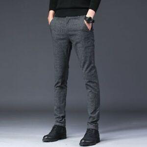 Men s Casual Pencil Dress Pants Slim Fit Straight-Leg Business ... fabab8dd72cd