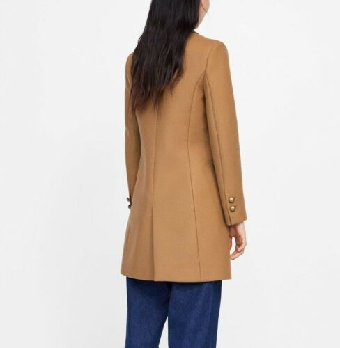 Coat Size New Camel Ref Abrigo 2064 With Ss19 S Buttons 744 Metallic Zara qttSvFp