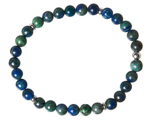 Azurit-Malachit-Edelstein-Armband-Stretch-Perlenarmband-D355