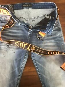CULT of INDIVIDUALITY BELTED PUNK SUPER SKINNY VAPOR JEANS(W32) $ 225