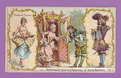 THOMAS  HOLLOWAY  LTD.  -  RARE SPORTS & PASTIMES CARD - MEDIAEVAL FRANCE - 1900
