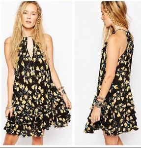 Free People ~ Black-Yellow Floral V-Neck Ruffle Hem Party Dress S ... a87836648
