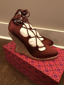 eb051f96a89 Details about Tory Burch Women's Heather 95mm Wedges Satin Lace-Up  Espadrille Sz 8 - NIB