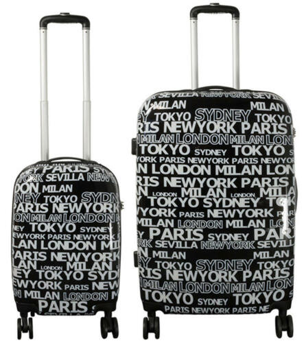 Coque rigide trolley valise coque rigide motif Global Cities Black Individuellement Ou Set