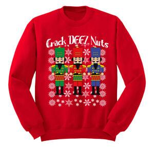 e504ca4f73a Details about Crack Deez Nuts Nutcracker Ugly Christmas Sweater Winter Men  Women Sweatshirt