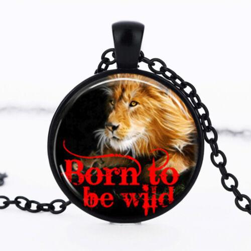 Lion Noir Dôme Verre Cabochon Chaîne Collier Sautoir Pendentif #176