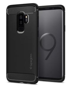 Coque-Samsung-Galaxy-S9-Plus-Resistant-Anti-Choc-Noir-Fibre-de-Carbone
