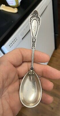 "WOOD /& HUGHES STERLING SILVER TABLESPOON SERVING SPOON 8.5/"" /""ANGELO/"" 1878"