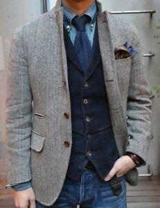 Men-Gray-Wool-Blend-Herringbone-Tweed-Suit-Check-Tan-Groom-Tuxedos-Prom-Suit