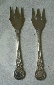 PAIR-ORNATE-ANTIQUE-SILVER-PLATED-BREAD-FORKS-DATING-TO-1891