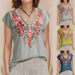 Fashion-Women-Floral-Embroidery-Blouse-V-Neck-Short-Flare-Sleeve-T-Shirt-Tops