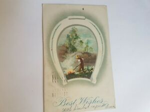 Greeting-Postcard-Vintage-Horse-Shoe-Best-Wishes