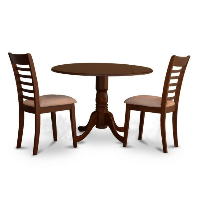 Fine East West Furniture Dlml3 Mah C 3Pc Round Kitchen Table And 2 Small Dining Chair Gmtry Best Dining Table And Chair Ideas Images Gmtryco