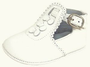 DE OSU - Baby Girls' White Leather Dress Pram Crib Shoes PR-233 - Euro 17 Size 2