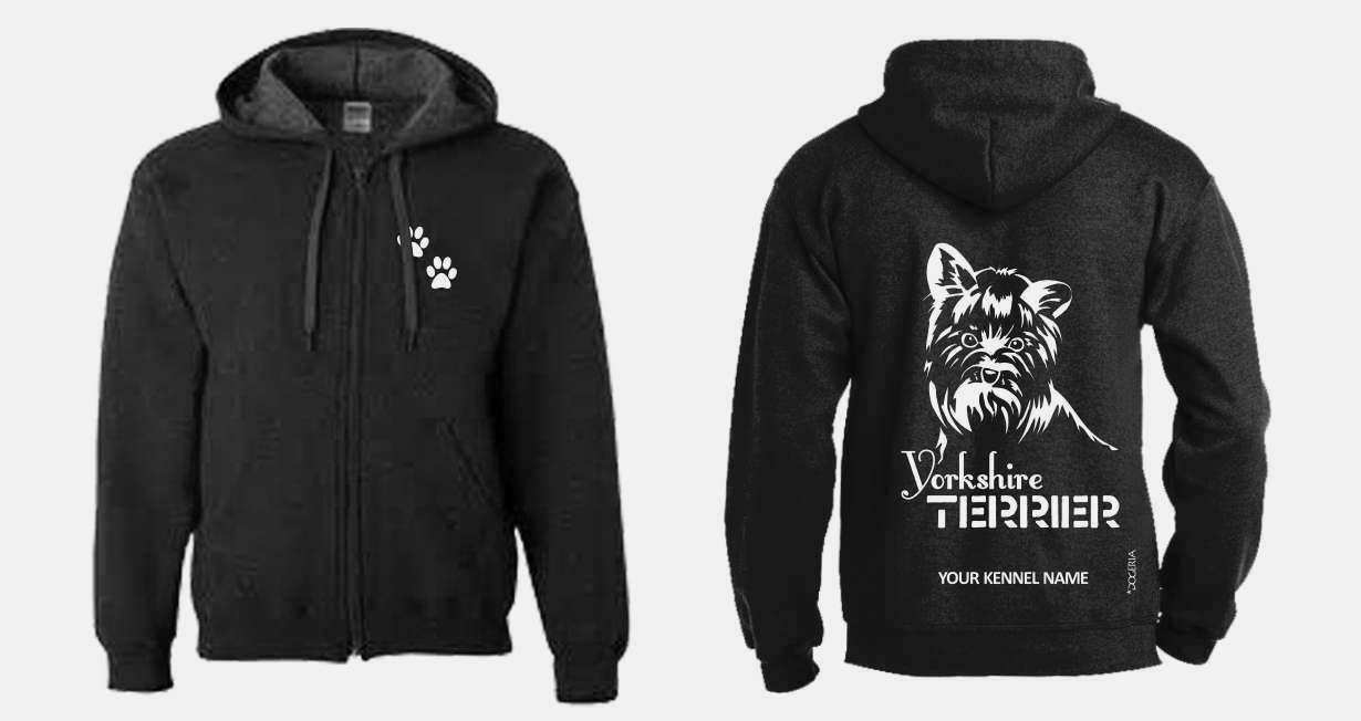 Yorkshire Terrier (Face) Full Zipped Dog Breed Breed Breed Hoodie, Exclusive Dogeria Design cd99aa